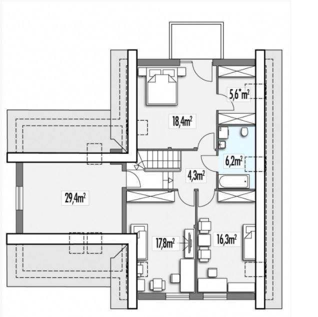 Cyprys 2B 2 garaże Rzut