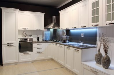 Full view of a modern kitchen cream coloured